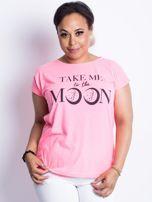 Fluo różowy t-shirt plus size Moonraker                                  zdj.                                  1
