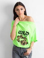 Fluo zielona bluzka z motywem zwierzęcym                                  zdj.                                  1
