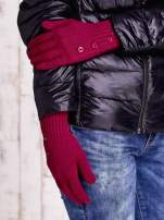 Fuksjowe rękawiczki z guzikami                                  zdj.                                  3