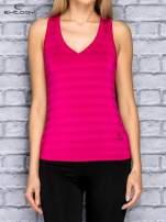 Różowy top sportowy V-neck w paseczki                                                                          zdj.                                                                         1