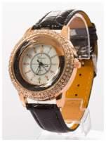 GENEVA Czarny damski zegarek na pasku ze skóry lakierowanej                                                                          zdj.                                                                         2