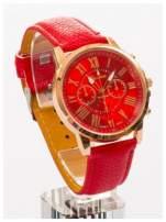 GENEVA Czerwony zegarek damski na skórzanym pasku                                                                          zdj.                                                                         1