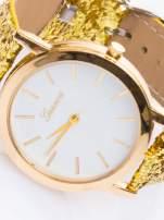 GENEVA Złoty zegarek damski na skórzanym pasku z cekinami