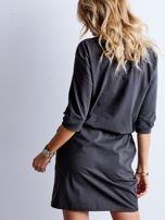 Grafitowa bawełniana sukienka z kieszeniami                                  zdj.                                  5