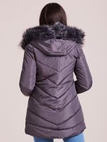 Grafitowa kurtka zimowa z kapturem i futerkiem                                  zdj.                                  2