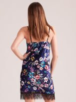 Granatowa aksamitna sukienka bieliźniana w kwiaty                                  zdj.                                  2