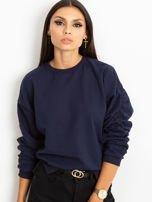Granatowa bluza damska z marszczonymi rękawami                                  zdj.                                  1
