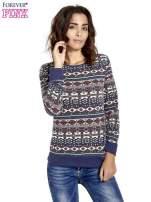 Granatowa bluza w azteckie wzory