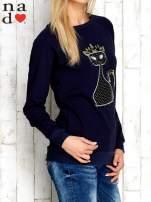 Granatowa bluza z cekinowym kotem                                  zdj.                                  3