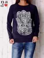 Granatowa bluza z motywem dłoni