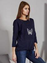 Granatowa bluza z motywem motyli                                  zdj.                                  5