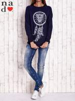 Granatowa bluza z motywem sowy i łapacza snów                                  zdj.                                  2