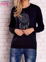 Granatowa bluza z nadrukiem łapacza snów                                  zdj.                                  1