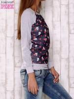 Granatowa bluza z nadrukiem pand                                  zdj.                                  3