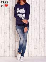 Granatowa bluza z napisem BAD GIRL                                  zdj.                                  2