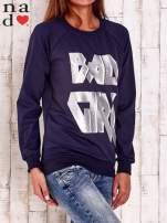 Granatowa bluza z napisem BAD GIRL                                  zdj.                                  3