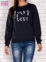 Granatowa bluza z napisem JUST LOVE i perełkami                                  zdj.                                  1