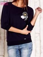 Granatowa bluza z naszywkami i ściągaczami                                  zdj.                                  1