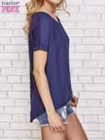 Granatowa bluzka koszulowa z koronką z tyłu                                  zdj.                                  3