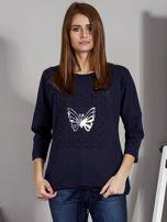 Granatowa bluzka z motywem motyli                                  zdj.                                  1