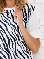 Granatowa bluzka z nadrukiem zebry                                  zdj.                                  5