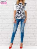 Granatowa bluzka z nadrukiem zebry                                  zdj.                                  2