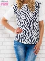 Granatowa bluzka z nadrukiem zebry                                  zdj.                                  1