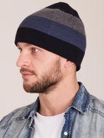 Granatowa czapka męska w paski                                  zdj.                                  2
