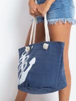 Granatowa damska torba z nadrukiem                                  zdj.                                  3