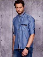 Granatowa denimowa koszula męska z zamszowymi wstawkami PLUS SIZE                                  zdj.                                  3