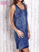 Granatowa denimowa sukienka z motywem panterki                                                                          zdj.                                                                         3