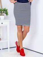 Granatowa dopasowana spódnica w paski                                  zdj.                                  1