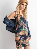 Granatowa dopasowana sukienka z motywem kwiatki                                  zdj.                                  3