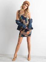 Granatowa dopasowana sukienka z motywem kwiatki                                  zdj.                                  4