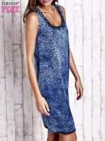 Granatowa jeansowa sukienka z motywem animal print                                  zdj.                                  3