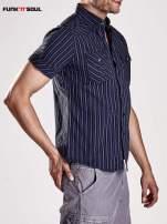 Granatowa koszula męska w drobne paski Funk n Soul                                                                          zdj.                                                                         5