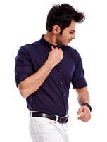 Granatowa koszula męska z podwijanymi rękawami                                  zdj.                                  9