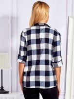 Granatowa koszula w kratę                                  zdj.                                  2