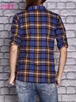 Granatowa koszula w kratę                                  zdj.                                  4