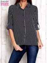 Granatowa koszula w paski z podwijanymi rękawami                                  zdj.                                  1