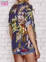 Granatowa koszula z kwiatowym nadrukiem                                                                          zdj.                                                                         4