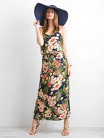 Granatowa letnia sukienka w kwiaty                                  zdj.                                  4