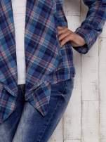 Granatowa otwarta koszula w kolorową kratkę