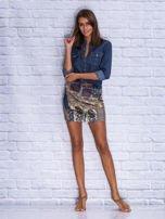 Granatowa patchworkowa spódnica mini z zamkiem                                  zdj.                                  4