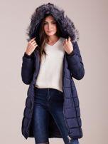 Granatowa pikowana damska kurtka zimowa                                   zdj.                                  7
