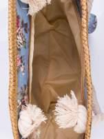 Granatowa plażowa torba w kwiaty na sznurku                                  zdj.                                  3