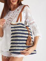 Granatowa pleciona torba                                  zdj.                                  2