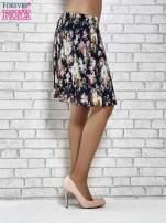 Granatowa plisowana spódnica w kwiaty                                                                          zdj.                                                                         4