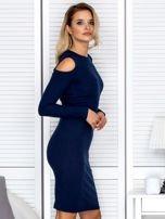 Granatowa sukienka cold arms w prążek                                  zdj.                                  3