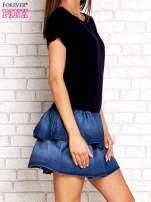 Jasnoróżowa sukienka dresowa z jeansowym dołem